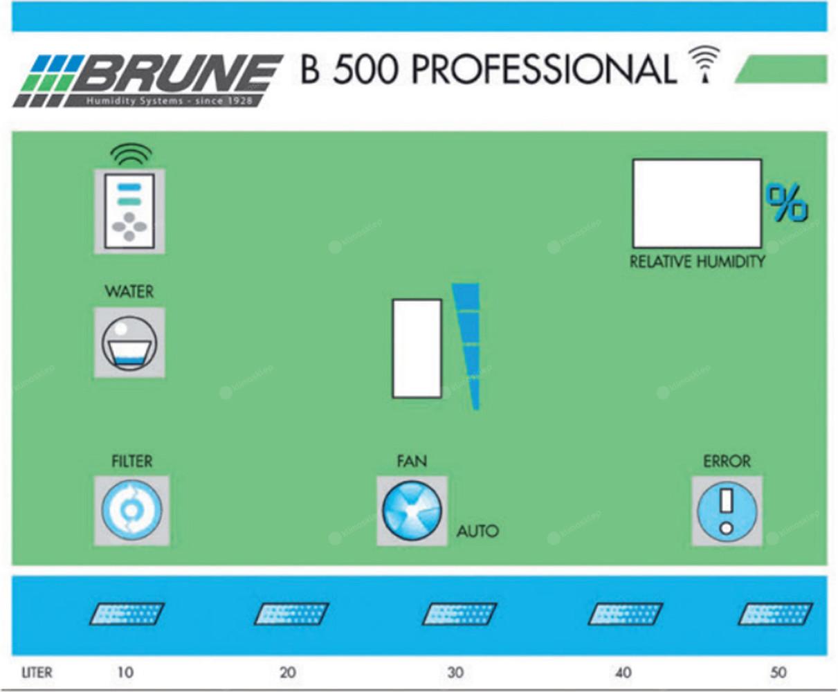 Nawilżacz powietrza BRUNE B 500 - widok na panel sterowania