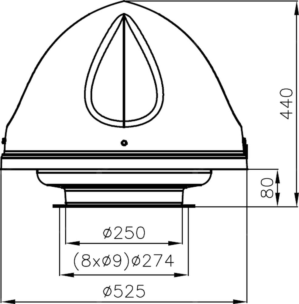 Wentylator dachowy Flowair UVO H1.4C - wymiary