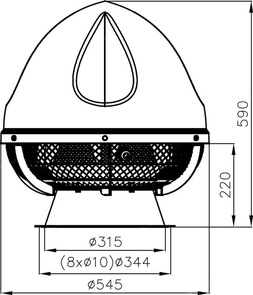Wentylator dachowy Flowair UVO H 4.2 EC - wymiary