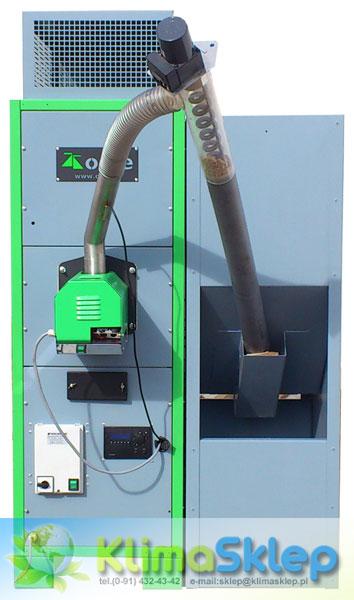 Przykładowa nagrzewnica na pellet ORTE POWER z zamontowanym palnikiem