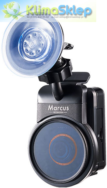 Wideorejestrator Vicovation Vico-Marcus 3 z zamontowanym uchwytem szybkiego montażu i filtrem CPL