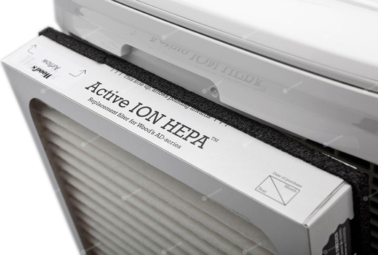 Wood's AD30G Hybrid oczyszcza powietrze za pomocą aktywnego filtra Active Ion HEPA